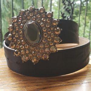 Chico's Leather Belt w Rhinestone Bling Buckle Lg